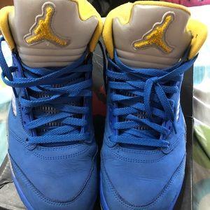 Jordan 5s , Varsity Blue & Yellow .